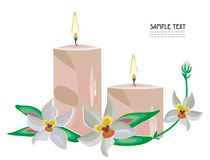Candles and orchids. Vector drawing of the holiday candles and orchid blossom Stock Photos