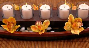 Candles and Orchids Royalty Free Stock Photography