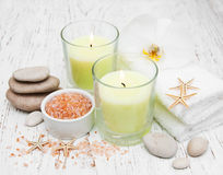 Candles, orcids and towels Royalty Free Stock Photography