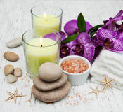 Candles, orcids and towels Royalty Free Stock Photos