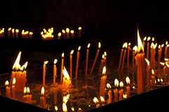 Candles in orthodox christian church Stock Photos