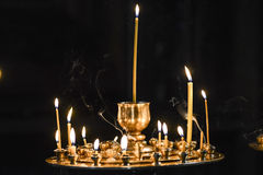 Candles in orthodox church in georgia. Royalty Free Stock Photo