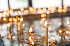 Candles in the orthodox Church. Shallow depth of field Stock Photography