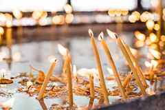 Candles in the orthodox Church. Shallow depth of field Stock Photos