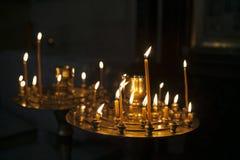 Candles in  orthodox georgian church Stock Photo