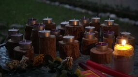 Candles on outdoor display Stock Images
