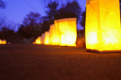 Candles on a path. Lighted path royalty free stock photography