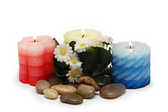 Candles, pebbles and flowers f. Candles, pebbles and  flowers for spa session Royalty Free Stock Image