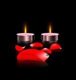 Candles and petals Stock Image