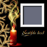 Candles and photo frame. Christmas background with candles and photo frame Royalty Free Stock Image