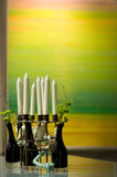 Candles and plants Royalty Free Stock Photography