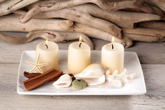 Candles. Plate decoration with candles Shells Starfish Coral wood royalty free stock photo