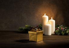 Candles present in Christmas setting Stock Photography