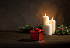 Candles present in Christmas setting Stock Photo