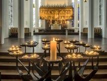 Candles in Protestant Nikolai church, Kiel Stock Photography