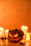 Candles and pumpkin Royalty Free Stock Image