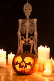 Candles, pumpkin and skeleton Stock Image