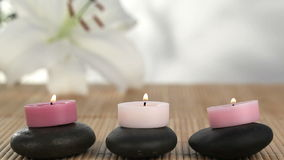 Candles raised on black stones stock video footage