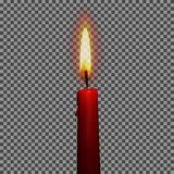 Candles realistic 3d set  on transparent background vector illustration. Candle realistic with fire 3d  on transparent background vector illustration. Birthday Stock Photos