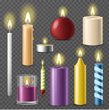 Candles realistic 3d set wax candle fire flame light  beeswax taper on transparent background vector. Illustration. Romantic decorative burn paraffin Stock Image