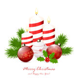 Candles and red Christmas balls. Red Christmas balls and candles with fir tree branches and holly berry  on white background, illustration Stock Image