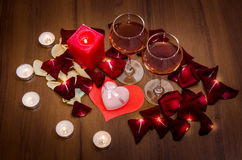 Candles, Red Roses Petals and Wine Royalty Free Stock Images