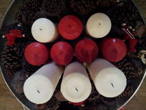 Candles. Red and white candles Royalty Free Stock Photos