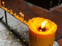 Candles for a religious ritual. Royalty Free Stock Photography