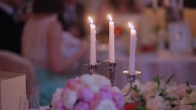 Candles in restaurant. At the evening stock video footage