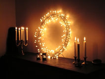Candles and ring with light Royalty Free Stock Photos