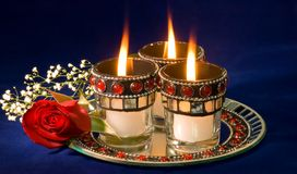 Candles and rose bud Royalty Free Stock Photos