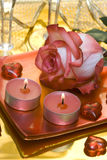 Candles with rose and hearts Royalty Free Stock Photography