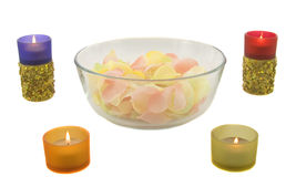 Candles and rose leaves Royalty Free Stock Photography