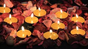 Candles and roses for Valentine stock footage