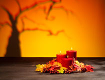 Candles in scary Halloween landscape Royalty Free Stock Image