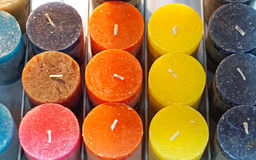 Candles. Scented candles in different colours Stock Photos