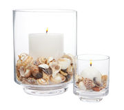 Candles with sea shells Royalty Free Stock Images