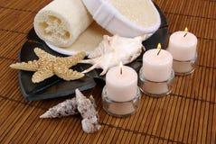 Candles and Seashells Stock Photos