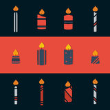 Candles. Set of flat christmas candle icons Stock Photo