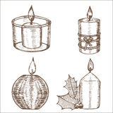 Candles Set Hand Draw Sketch. Vector. Candles Set Hand Draw Sketch Old Decoration and Retro Design. Vector illustration Royalty Free Stock Photos