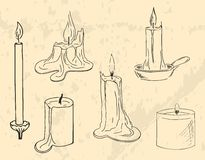 Candles. Set of line-art candles and candle-ends vector illustration