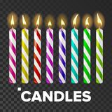 Candles Set Vector. Cake. Fire Light. Lit Wick. Glow Cake. Transparent Background. Isolated Realistic Illustration. Candles Set Vector. Cake. Fire Light. Lit stock illustration