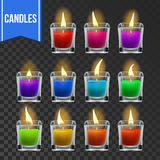 Candles Set Vector. Glass Jar. Christmas Lighter. Wax Design. Romantic Object. Transparent Background. Isolated royalty free illustration