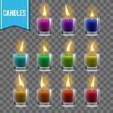 Candles Set Vector. Glass Jar. Christmas Lighter. Wax Design. Romantic Object. Transparent Background. Isolated stock illustration