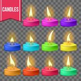 Candles Set Vector. Heart Form. Wax Design. Romantic Object. Holiday Celebration. Transparent Background. Isolated stock illustration