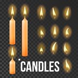 Candles Set Vector. Orange. Religion, Church Prayer. Transparent Background. Isolated Realistic Illustration. Candles Set Vector. Orange. Religion, Church Prayer vector illustration