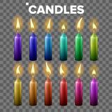 Candles Set Vector. Transparent Background. Paraffin Symbol. Meditation Element. Decorative Icon. Isolated Realistic vector illustration