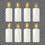 Candles Set Vector. White. Religion, Church Prayer. Transparent Background. Isolated Realistic Illustration. Candles Set Vector. White. Religion, Church Prayer stock illustration