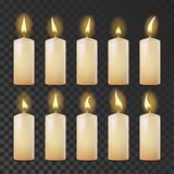 Candles Set Vector. White, Yellow. Religion, Church Prayer. Transparent Background. Isolated Realistic Illustration. Candles Set Vector. White, Yellow. Religion royalty free illustration