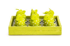 Candles in the shape of easter bunnies Stock Photo